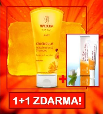 WELEDA Měsíčkový dětský šampón 200ml (10/2020) +ZDARMA WELEDA Dětský zubní gel 10ml!