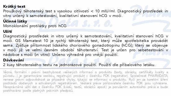 GS Mamatest 10 Těhotenský test 2ks ČR/SK