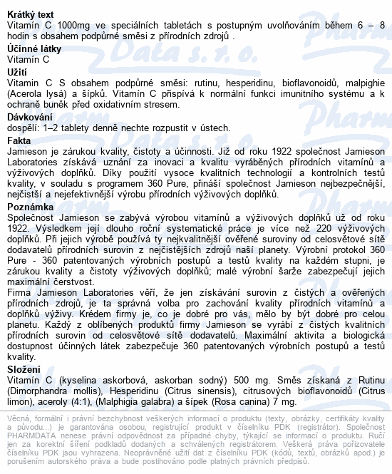 JAMIESON Vitamín C 1000mg s postup.uvol.tbl.100+20