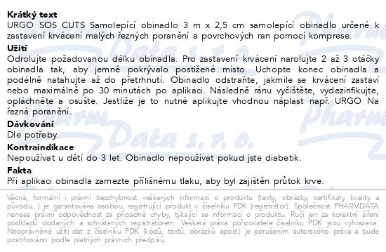 URGO SOS CUTS Samolepící obinadlo 3mx2.5cm