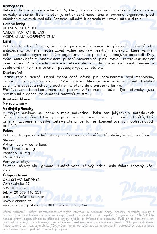 DL-Beta-karoten 6mg + Pantenol + PABA cps.100
