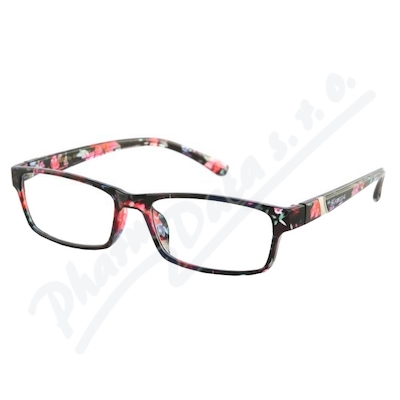 Brýle čtecí +2.00 černo-květinové