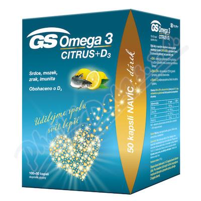 GS Omega 3 Citrus+D cps.100+50 dárek 2021 ČR/SK